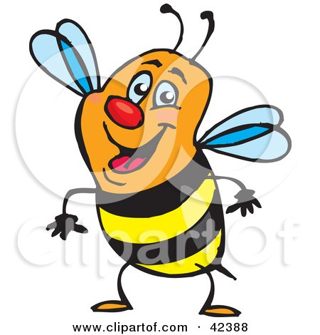 Clipart Illustration of a Friendly Orange, Black And Yellow Honey Bee by Dennis Holmes Designs