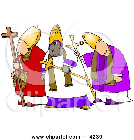 Three Bishops Standing Together, One is Ethnic Clipart by djart