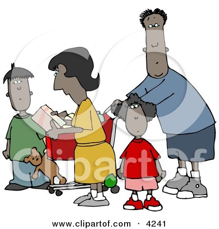 Ethnic Family Shopping Together at a Grocery Store Clipart by djart