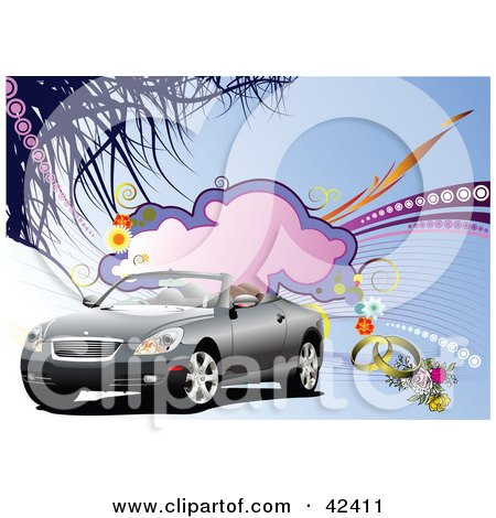 Clipart Illustration of a Convertible Car With Bridal Flowers And Wedding