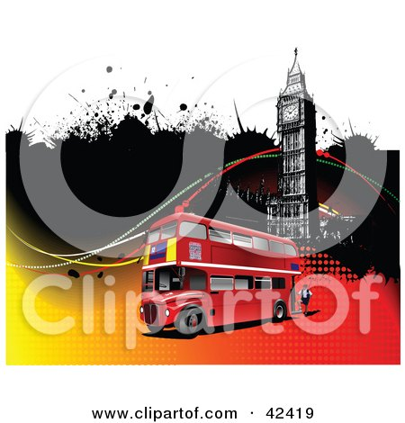 Clipart Illustration of a Double Decker Bus Passing Big Ben On A Grungy Background by leonid