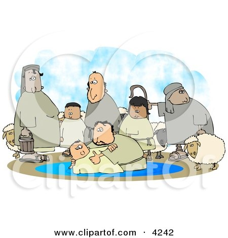 Sheep and Family Watching Their Son Get Baptised by a Religious Christian Figure Clipart by djart