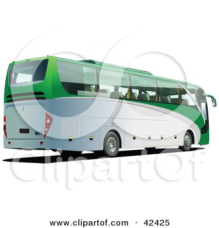 Clipart Illustration of a Green And White 3d Tourist Bus by leonid
