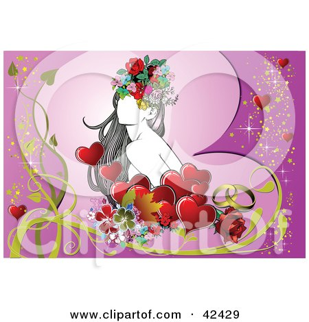 Pretty Young Lady Surrounded By Flowers And Hearts On Purple Posters, Art Prints