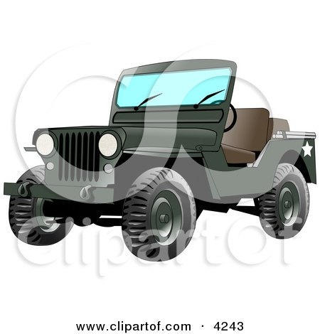 4wd Military Army Jeep Clipart by djart