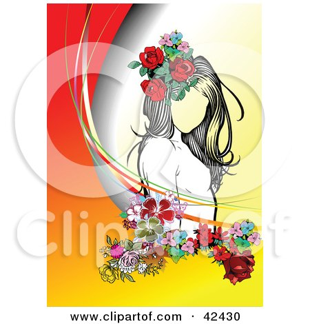 Clipart Illustration of a Pretty Young Lady Wearing Flowers In Her Hair, On A Gradient Background by leonid