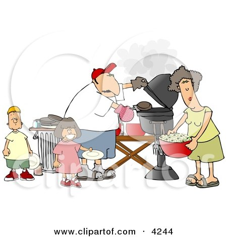 Dad, Mom, Son, and Daughter Grilling Barbecue Hamburgers Clipart by djart