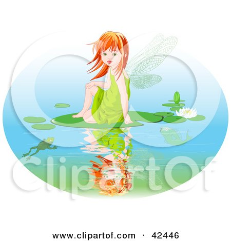 Red Haired Fairy Girl Sitting On A Lily Pad On A Pond Posters, Art Prints