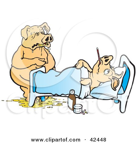 Clipart Illustration of a Sick Pig Puking At The Bed Side Of Another Ill Pig by Snowy