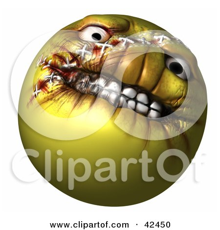 Clipart Illustration of an Evil Yellow 3d Evil Head With Stitches by Leo Blanchette
