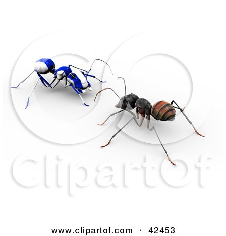 Clipart Illustration of a Worker Ant Facing A Blue And White Striped AO-Maru Ant by Leo Blanchette