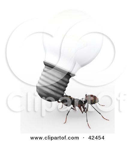 Clipart Illustration of a Worker Ant Carrying An Electric Light Bulb by Leo Blanchette
