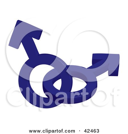 Clipart Illustration of Two Entwined Blue 3d Male Symbols by stockillustrations
