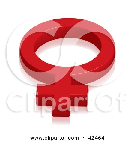 Clipart Illustration of a Red 3d Feminine Female Symbol by stockillustrations