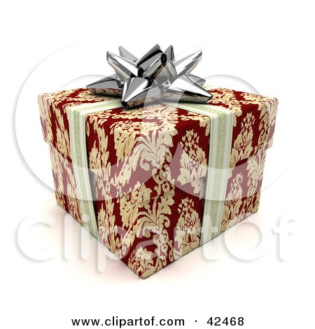 Clipart Illustration of a Silver Ribbon And Bow Around A Red And Gold Gift by stockillustrations