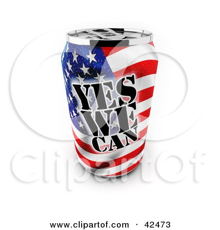 Clipart Illustration of a Patriotic Yes We Can Soda Can With An American Flag by stockillustrations