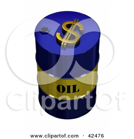 Blue And Gold Oil Barrel With A Dollar Symbol On Top Posters, Art Prints