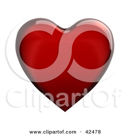 Clipart Illustration of a Shiny Red 3d Glass Heart by stockillustrations