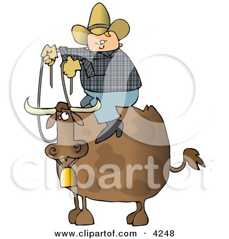 Cowboy Sitting On the Back of a Bull with Horns and a Bell Clipart by djart
