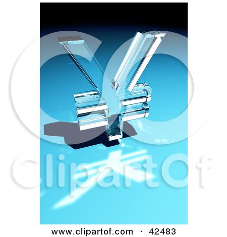 Clipart Illustration of a Shiny Glass Yen Sign Reflecting Light On A Blue Surface by stockillustrations