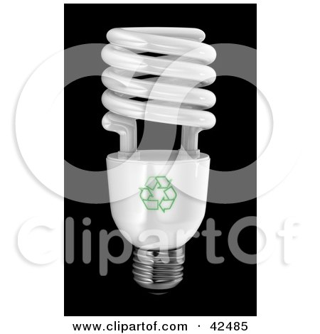 Clipart Illustration of a Spiral Energy Efficient Light Bulb On Black by stockillustrations
