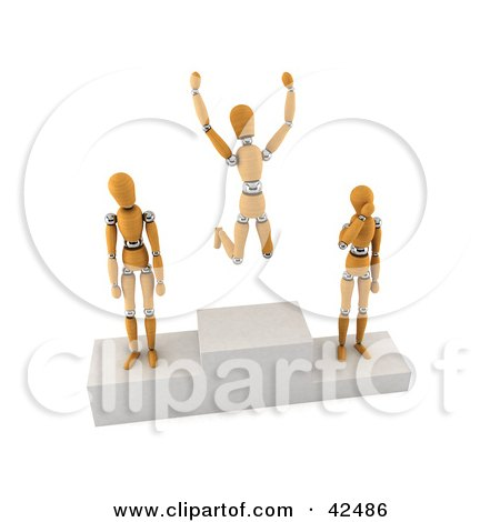 Clipart Illustration of Orange 3d Dummies On First, Second And Third Place Pedestals by stockillustrations