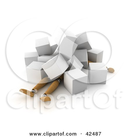 Clipart Illustration of a 3d Orange Dummy Collapsed Under White Cubes by stockillustrations