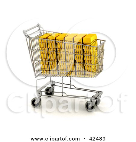 Gold Bars Stacked In A Shopping Cart Posters, Art Prints