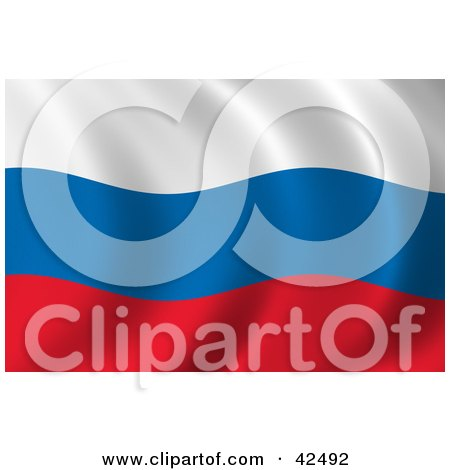 Clipart Illustration of a Rippling White, Blue And Red Russian Flag Background by stockillustrations