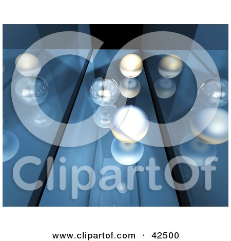 Clipart Illustration of White And Transparent Marbles Rolling Down A Mirrored Blue Passage Way by MacX