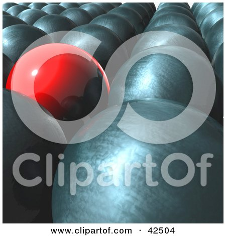 Clipart Illustration of a Smooth Red Ball Standing Out From A Crowd Of Metal Balls by MacX