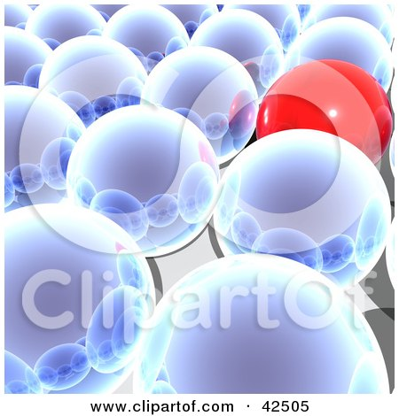 Clipart Illustration of a Red Ball Standing Out From A Crowd Of Reflective Blue Balls In Rows by MacX