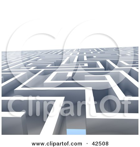 Clipart Illustration of a Vast Labyrinth Leading Off Into The Distance by MacX