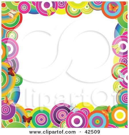 Clipart Illustration of a Vibrantly Colored Circle And Butterfly Frame Around A White Center by MacX