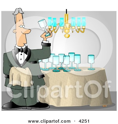 Male Butler Cleaning and Polishing Wine Glasses Posters, Art Prints