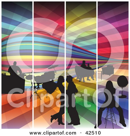 Clipart Illustration of Four Colorful Panels Of A Night Club With A Bar, Drums And People On The Dance Floor  by MacX