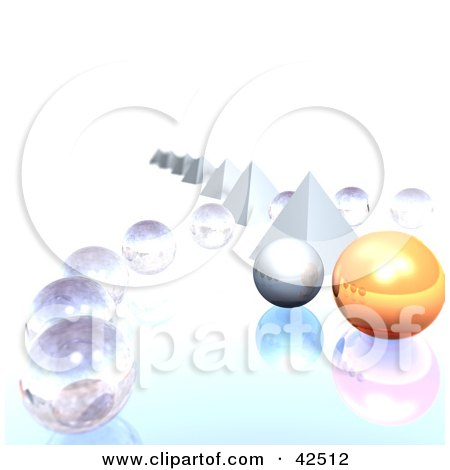 Clipart Illustration of a Row Of Pyramids With Clear And Orange 3d Orb by MacX