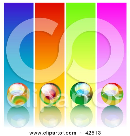 Four Colorful Panels With Marbles On Reflective Surfaces Posters, Art Prints