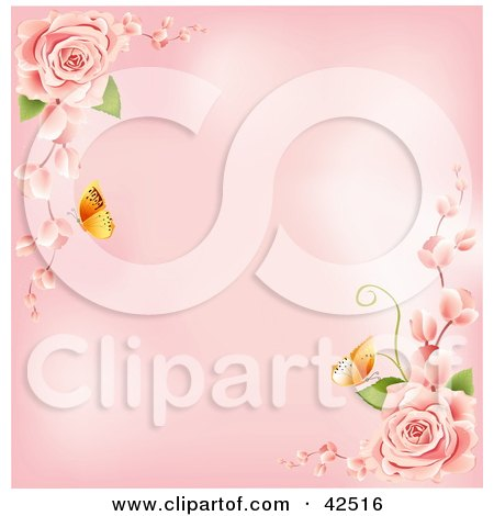 Clipart Illustration of a Pink Background With Butterflies And Pink Roses In The Corners by MacX