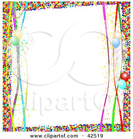 Clipart Illustration of a Colorful Confetti Border With Streamers And Balloons On White by MacX