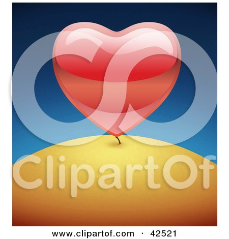 Clipart Illustration of a Shiny Big Red 3d Heart Growing Like A Plant On A Hill by MacX