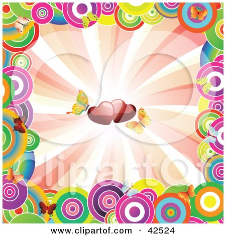 Clipart Illustration of a Colorful Circle Border Around A Bursting Background With Butterflies And Hearts by MacX