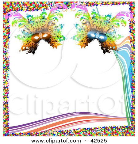 Clipart Illustration of a Colorful Mardi Gras Confetti Border With Waves And Masks On White by MacX