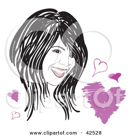 Clipart Illustration of a Long Haired Woman With Hearts by Arena Creative
