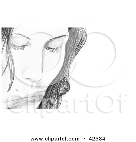 Clipart Illustration of a Sketched Woman Kissing Her Fingers by Arena Creative