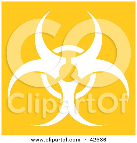 Clipart Illustration of a White Silhouetted Biohazard Symbol On A Yellow Background by Arena Creative
