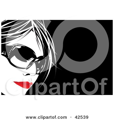 Clipart Illustration of a Pretty Woman With Red Lips And Big Sunglasses by Arena Creative