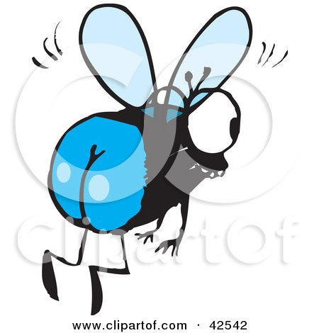 Clipart Illustration of a Flying House Fly With Blue Buns by Dennis Holmes Designs