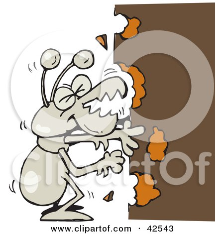 Clipart Illustration of a Hungry Termite Munching On Wood by Dennis Holmes Designs