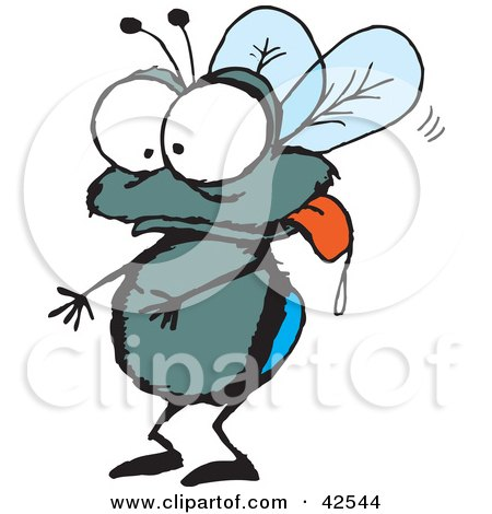 Clipart Illustration of a Drooling House Fly Hanging Its Tongue Out by Dennis Holmes Designs